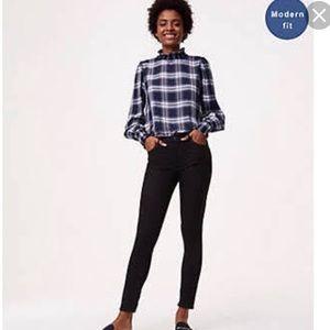 Ann Taylor modern fit black jeans, ankle zipper, 8